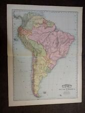 Large Format 1894 Map Of South America - Nice Colors - Large Scale - Lovely Map