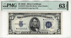 1934 C $5 SILVER CERTIFICATE NOTE FR.1653W MA BLOCK PMG CHOICE UNC 63 EPQ (571A)