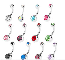 12pcs Stainless Steel Belly Bar Navel Button Ring Gem Body Piercing Barbell UK
