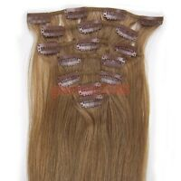 """15""""18""""20""""22""""7PCS Clip In Remy Human Hair Extension Straight #12 Light Brown 70g"""