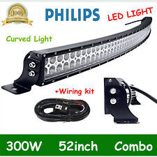 52 inch LED Light Bar 300W Spot Flood Curved Off Road Driving/Fog Lamp + Wiring