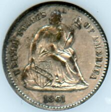 1861 over 0 Seated Half Dime Extra Fine