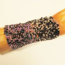 Set of 2 Purple Black Multi Strand Handmade Cleo Stretch Seed Bead Bracelets
