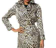 Joan Rivers Lined Animal Print Belted Trench Coat - Neutral - MED - New - A91577