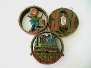 "Vintage Hallmark 3 Wood Look 1975 Ornaments Engine Drummer Boy JOY 3 1/4"" Dia"