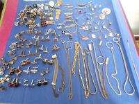 Vintage Lot Men's Cuff Links Tie Bars Tie Tacks Watch Fobs and More