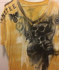 Yellow Remetee 3XL Shirt Grey Skull Gold Accents