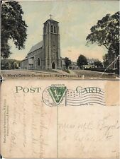 Antique 1913 Postcard St. Mary's Catholic Church Building Taunton Massachusetts