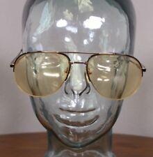 140 CC Welling English Leather 103 BK 60 17 Aviator Eye Glasses Vtg Metal Frames