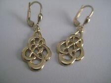 Gold celtic earrings dangling 9 carat yellow gold