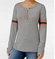 Hippie Rose Juniors' Henley Football T-Shirt Burnout GREY Size Junior S