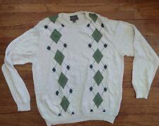 Lyle & Scott Scotland Mens Argyle Sweater  XL Combed Cotton White