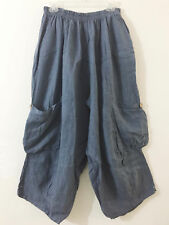 SHABBY MAGNOLIA eyelet PANTS pearl color bloomers FLAX LINEN blue 1X 2X 3X
