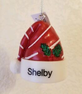"""Hallmark Ganz Plastic Santa Hat New With Tags PERSONALIZED ORNAMENT- """"SHELBY"""""""