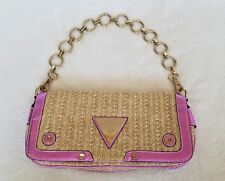 Guess Beige Straw Metallic Pink Gold Chain Handbag Clutch Purse