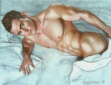 PRINT of Artwork Drawing Painting Male Gay Interest MCicconneT ~ OUT OF THE BLUE