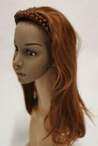 ginger copper red wavy curly half head long hair wig on headband fancy dress