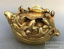Chinese brass 9 Fish goldfish lucky statue teapot kettle Water pot bottles