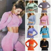 Women Compression Yoga Crop Top Sports Seamless Long Sleeve T-Shirt Fitness Wear