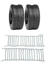 (2) New 16x6.50-8 TURF TIRES & TIRE CHAINS Kubota Lawn Mower Tractor Rider