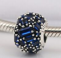 925 Sterling Silver Chiselled Elegance Charm Blue Crystal Bead