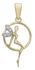 9ct Yellow Gold CZ Tinkerbell Fairy 25mm Charm Pendant - Gift Boxed - Free Post