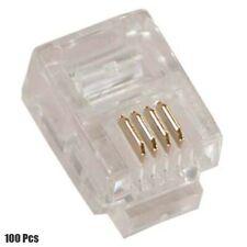 100 Pcs RJ11 6P4C Telephone Phone Modular Plug Connector Round Stranded Cable