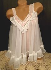 VINTAGE VANDEMERE WHITE BABYDOLL SISSY WHITE NYLON DOUBLE CHIFFON EXCELLENT COND