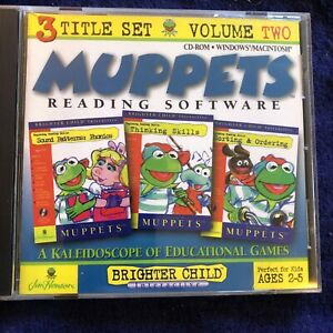 Muppets Reading Software.  Brighter Child 3 Title Set Vol 2 Ages 2-5 CD-Rom