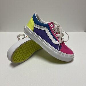 Vans Old Skool Neon Color Block Skate Shoe. Pink/Purple/Yellow. Size 12k Kids.