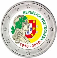 Portugal 2 Euro 2010 bfr 100 Jahre Republik 2010 Gedenkmünze in Farbe