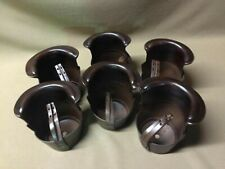 Dark Brown Leather Drop Pockets For Pool Table Set of 6