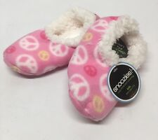 New Kids Snoozies PINK & WHITE PEACE SIGN Slippers - Soft & Super Comfy SZ 11-12