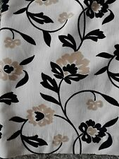 HEAVY black and grey floral curtains Lined very long Pair 1