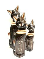 Decorative Cat Statue Set Of 3 Wood Carved & Painted Details by Zenda Imports