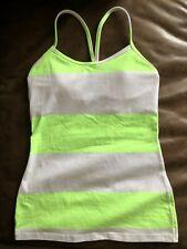 LULULEMON Power Y Lime Green Stripe Yoga Workout Sport Tank Bra Top w/ Pads Sz 4
