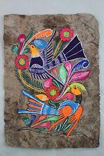 Mexican Folk Art Wall Decor Craft Painting Handmade Bark Hand Painted Two Birds