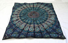 New Small Baby Quilt Indian Blue Mandala Throw Coverlet With 100% Cotton Filled