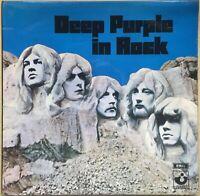 DEEP PURPLE IN ROCK 1ST PRESS 1970 UK HARVEST VINYL LP SHVL 777 NO EMI EX / VG