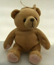 "Cherished Teddies Bear Tan Pink Paws Bow Vintage Plush 7"" Toy Lovey 1998"