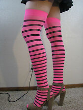 Music Legs Pink striped thigh high's                  #102