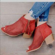 Ladies peep toe low chunky heels booties.size 6,6.5,7,7.5,8,8.5,9,10