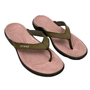 Crocs Women's Brown Capri V Flip Flops Leather Strap Size 7