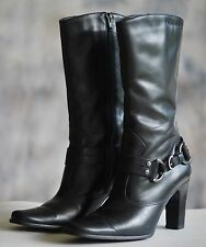 "Womens HARLEY DAVIDSON Motorcycle Boots Sz 7.5M Black Leather Mid Calf 3.5"" Heel"