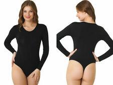 LADIES THONG ROUNDNECK LONG SLEEVE COTTON  LEOTARD / BODYSUITS(2350)