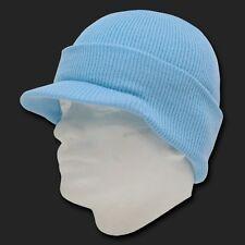 Sky Blue Ski Visor Beanie Hat Cap Knit Skull Winter Jeep Snowboard Hats Beanies