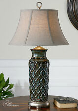 "LARGE 31"" BLUE GLAZED TABLE LAMP ANTIQUED SILVER ACCENTS LINEN SHADE RICH LIGHT"