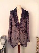 CUSTO BARCELONA Women Purple Velour Velvet Blazer SZ 40 EU SZ 6 US