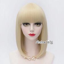 Lolita 40CM Medium Straight Light Blonde Bangs Hair Women Cosplay Party Wig