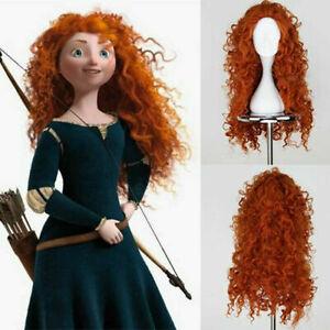 Long Curly Orange Merida Wig Brave Princess Cosplay Red Hair Synthetic